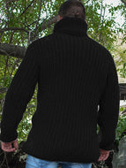 Turtleneck Knit Loose Long Sleeve Casual High Neck Men's Sweater