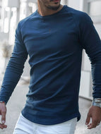 Men's Solid Color Long-sleeved Pullover Casual Slim Knitted Sweater