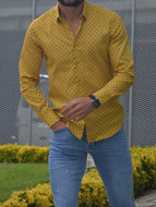 Madison Yellow Slim Fit Casual Shirt