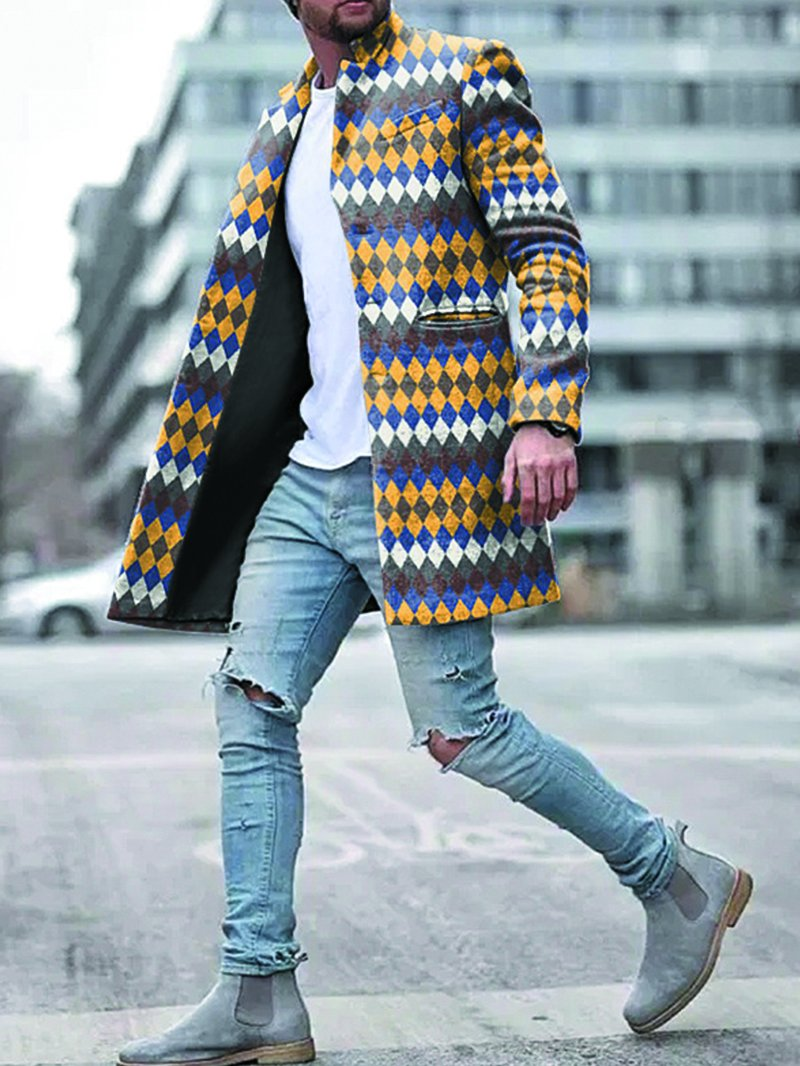 Men's Retro Rhombus Check Woolen Loose Coat