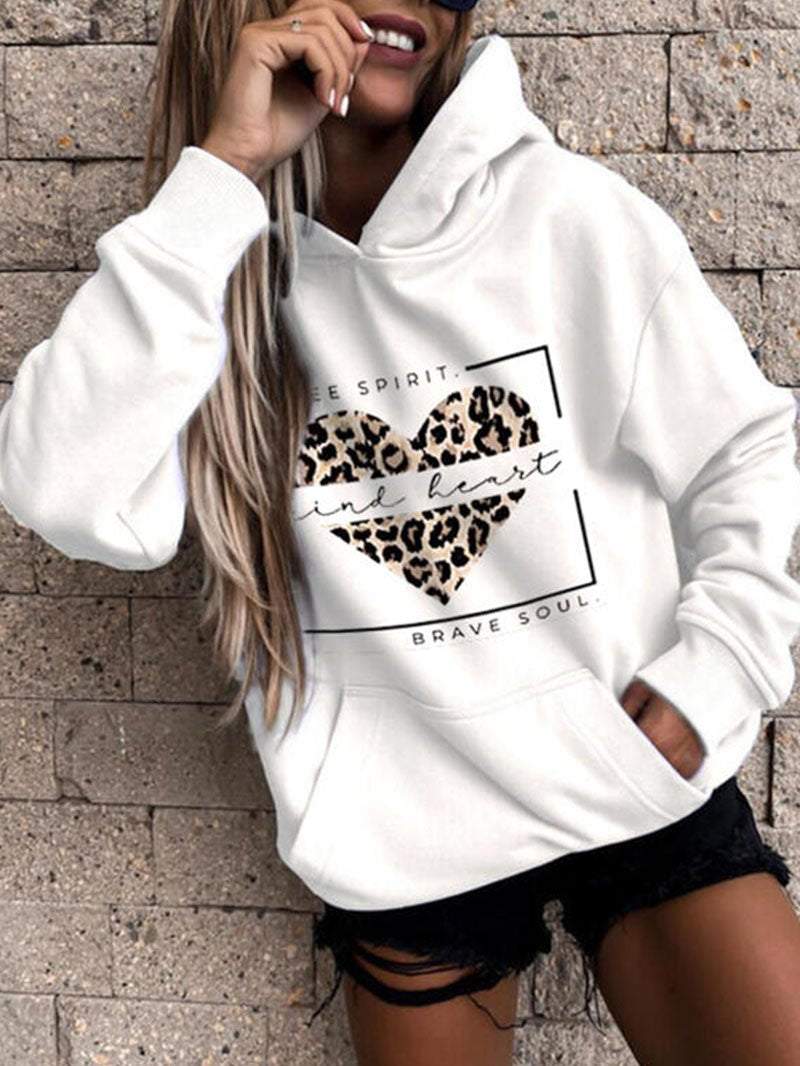 Women's Hooded Collar Leopard Love Print Sweatshirt Tops