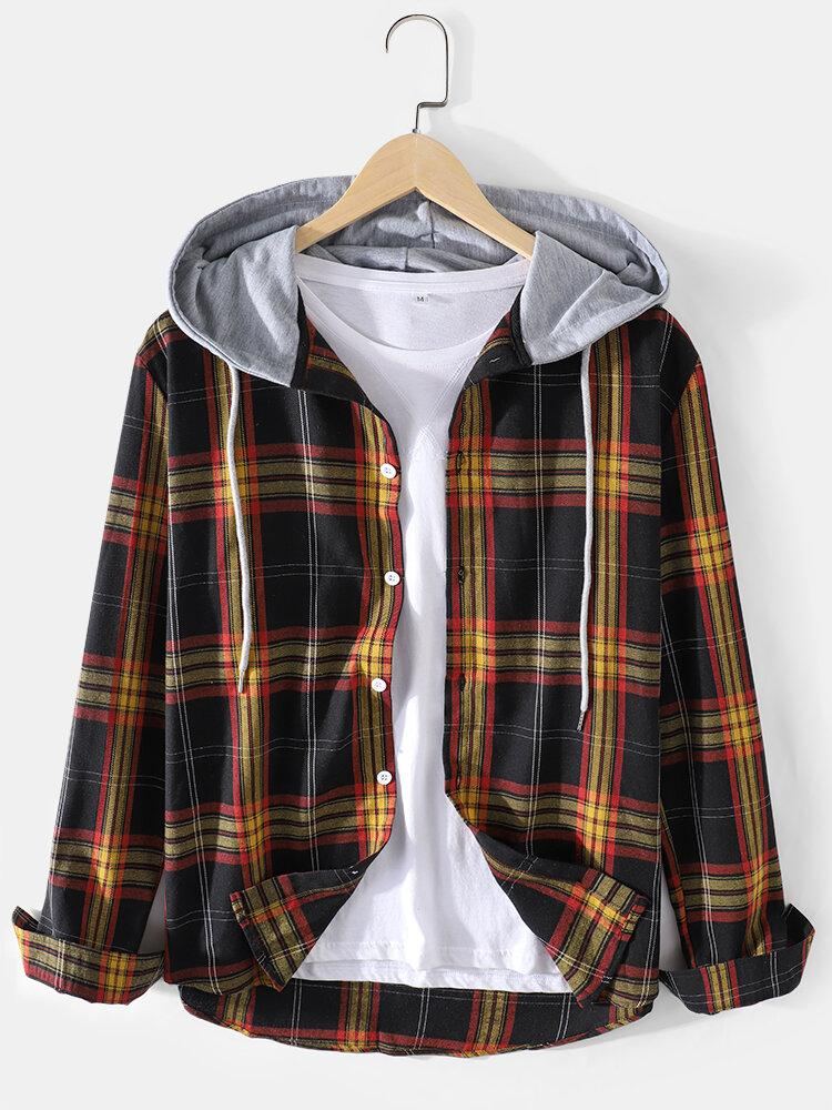 Mens Tartan Button Up Long Sleeve Casual Drawstring Hooded Shirts
