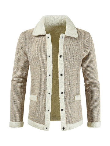 Long Sleeve Casual Solid Color Single-breasted Lapel Men's Sweater Cardigan Jacket