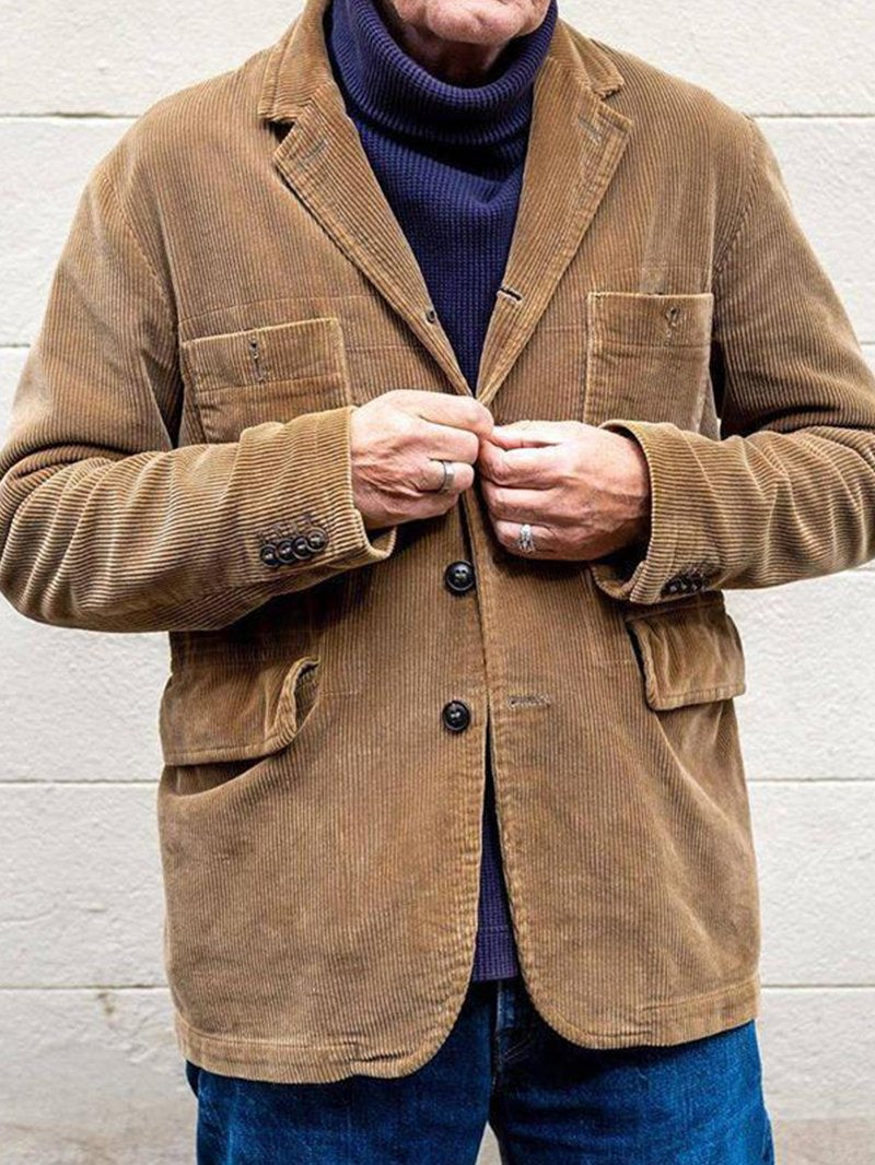 Pure Color Corduroy Casual Fashion Open Lining Solid Color Men's Jacket