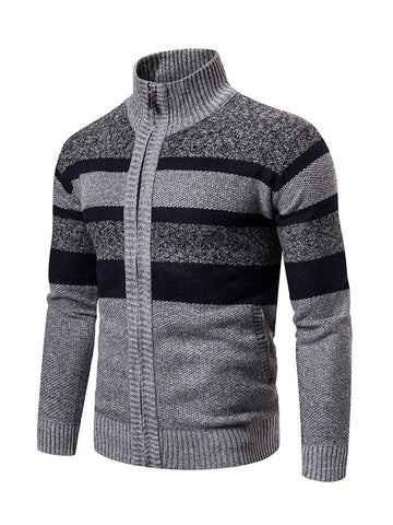 Men's Striped Turtleneck Cardigan Long Sleeve Knitted Sweater