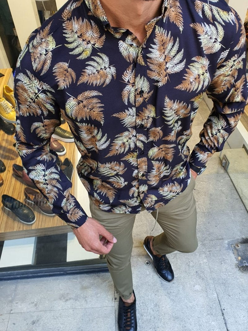 Black Slim Fit Floral Shirt