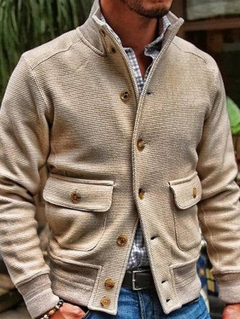 Stand-up Collar Solid Color Casual Jacket
