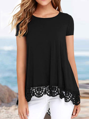 Long Front and Short Hem Lace Round Neck Short Sleeve T-shirt