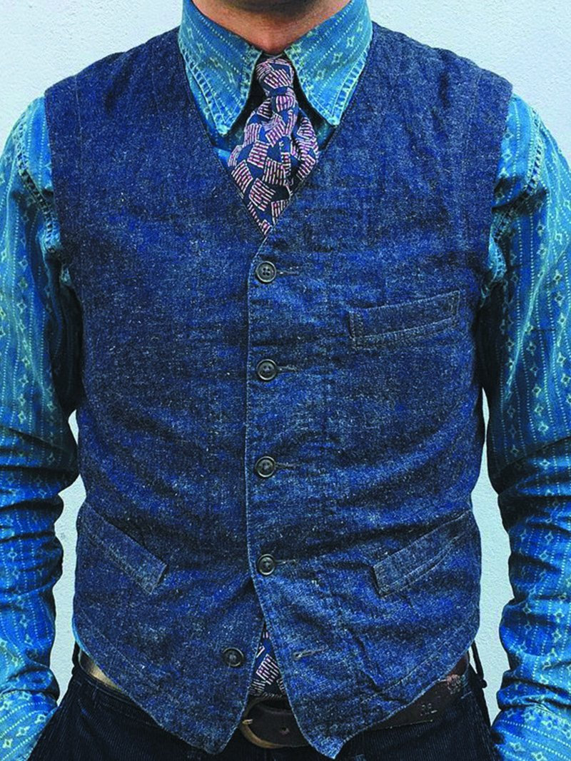 Men's Casual Slim Cardigan Denim Vest
