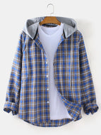 Mens Tartan Loose Fit Casual Long Sleeve Drawstring Hooded Shirts