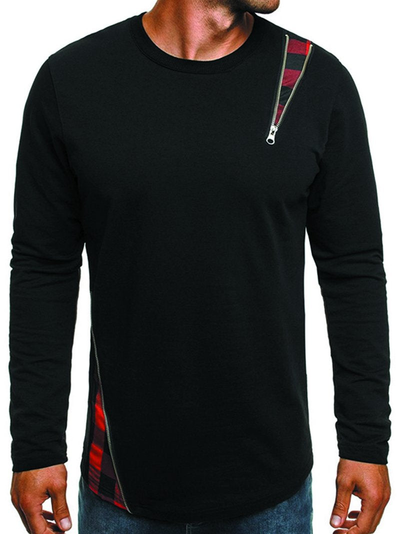 Men's Stitching Long Sleeve Round Neck T-shirt