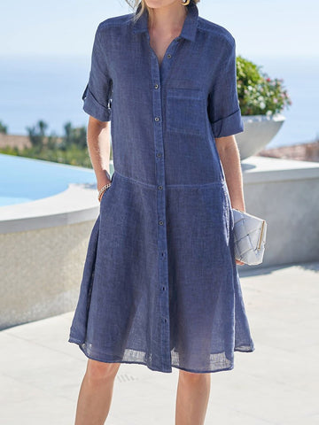 Casual Solid Color Short-sleeved Shirt Dress