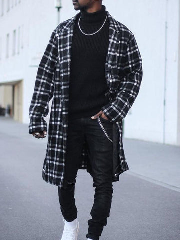 Mid-length Coat Plaid Fashion Shirt