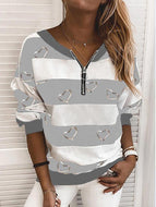 V-neck Sweatshirt with Peach Heart Print Long Sleeve Tops