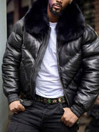 Men's PU Leather Short Thick Long-sleeved Solid Color Jacket