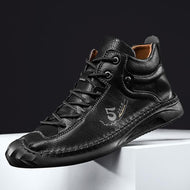 MEN'S COMFY MICROFIBER HANDMADE LEATHER CASUAL ANKLE BOOTS