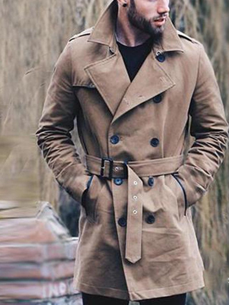 Men's Long Double-breasted Slim Solid Color Long Sleeve Coat