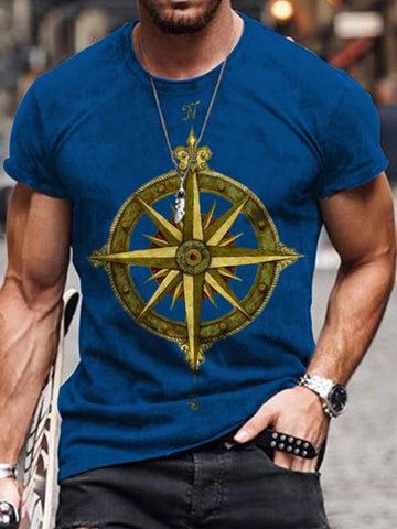 Men's New Fashion Print Simple Short-sleeved T-shirt