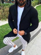 Men's Slim Long Sleeve Cardigan Hooded Knit Sweater Jacket