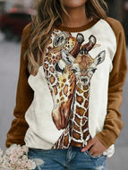 Women To Head Deer Print Sweatshirt Tops
