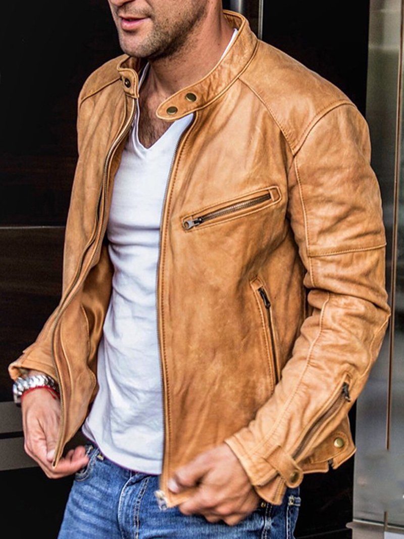 Men's Solid Color Long Sleeve Stand Collar Fashion Leather Jacket