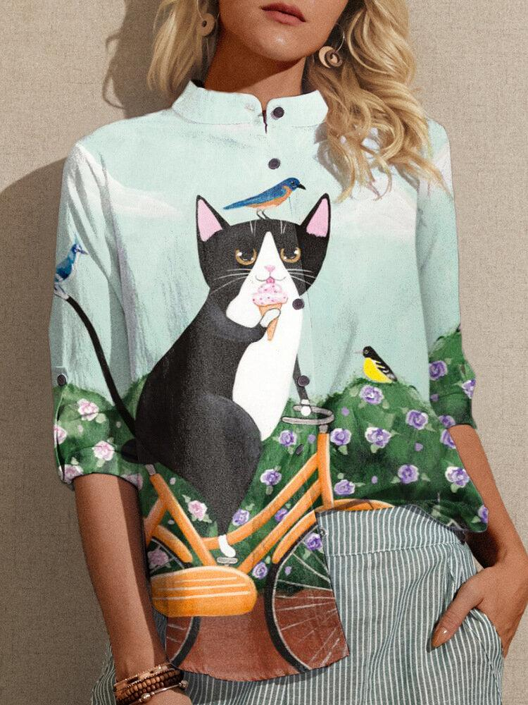 Cat Stand Collar Shirt Top