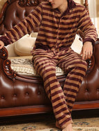 Thicken Plus Fleece Stripes Autumn and Winter Flannel Suit
