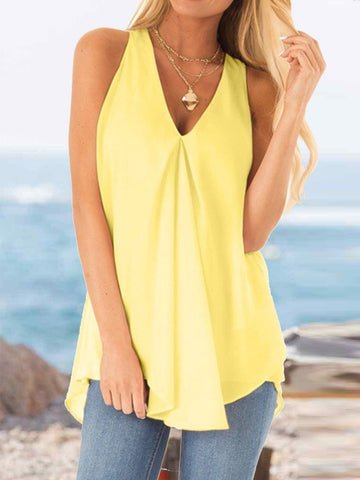 Summer Solid Color Loose Casual Chiffon Sleeveless Top