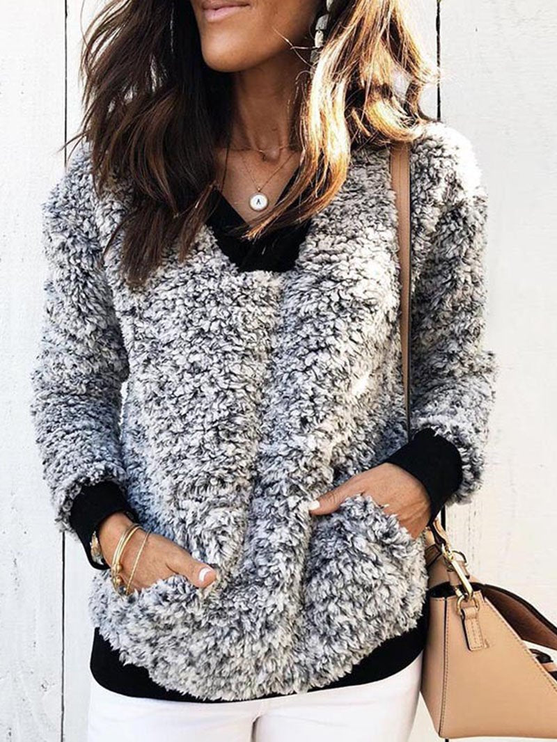Fall & Winter Color Blocking Plush Jacket Long Sleeve Tops