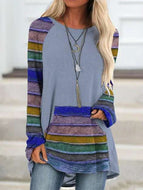 Striped Print Loose Crew Neck Long Sleeve Tops