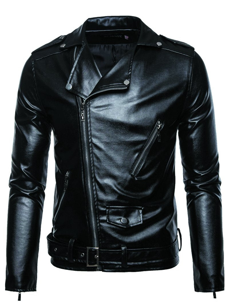 Men's Leather Jacket with Lapel Zipper