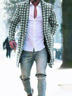 Men's Woolen Plaid Print Coat Jacket