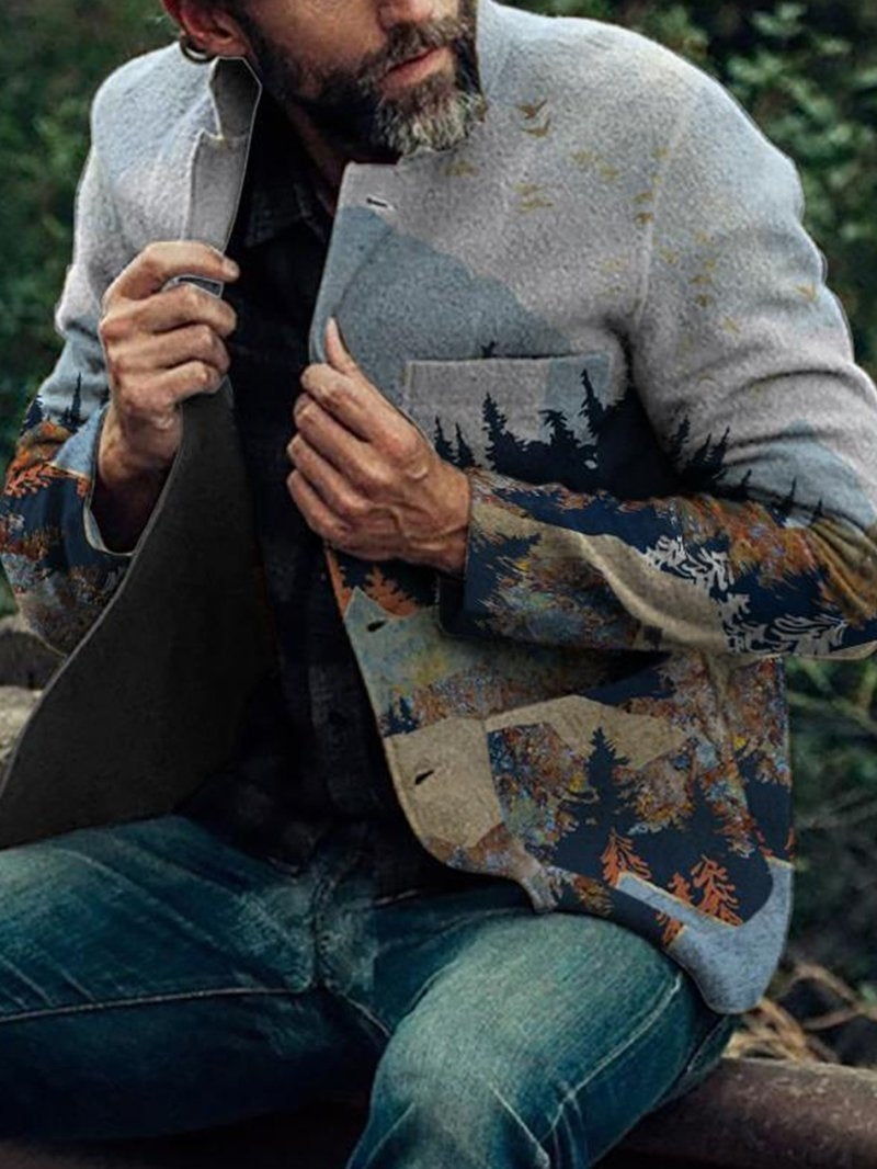 Men's Ethnic Print Loose Casual Single-breasted Lapel Jacket