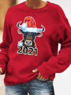 Christmas 2021 Christmas Hat Round Neck Long Sleeve Sweatshirt