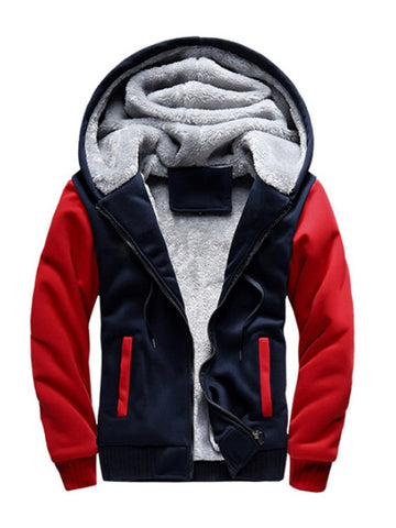 Stitching Long-sleeved Thick and Fleece Hooded Men's Sweater Jacket