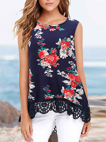 Printed Round Neck Sleeveless Lace T-shirt