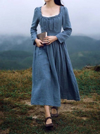 Women's High-waist Pleated Vintage Linen Dress