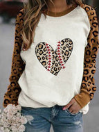 Leopard Print Heart Patchwork Sleeve Printed Blouse Tops