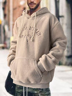 Letter Embroidery Long-sleeved Hooded Men's Sweater