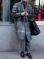 Retro Check Long Sleeve Coat