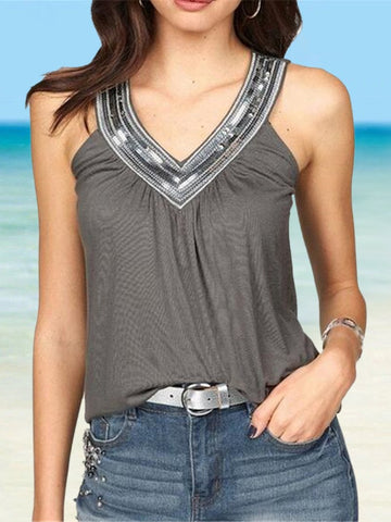 Sequin V-neck Solid Color Loose Sleeveless Top