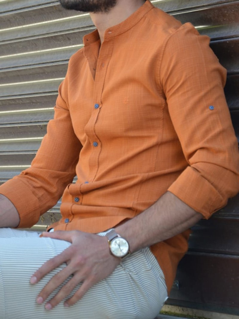 Orange Slim Fit Cotton Shirt