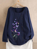 Retro Cotton and Linen Loose Long-sleeved Printed Round Neck Shirt Top