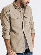 Men's Corduroy Long-sleeved Solid Color Casual Fashion Shirt