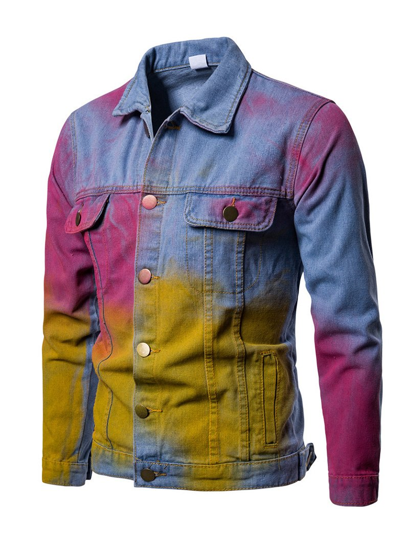 Long-sleeved Personality Splash-ink Printing Casual Men's Denim Jacket