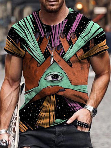 Men's New Round Neck Casual Printed Short-sleeved T-shirt