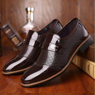 Embossed Casual Solid Color Stitching Men's Leather Shoes