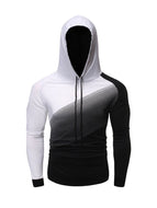 Fashion Gradient Stitching Casual Slim Hooded T-shirt