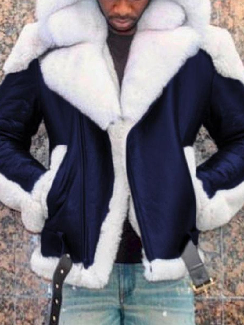 Men's Pu Leather Hooded Fur and Fur Long-sleeved Solid Color Thick Coat