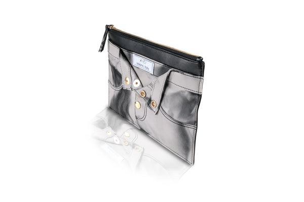 BIANCA LEATHER TROUSER CLUTCH | BLACK TIE DYE